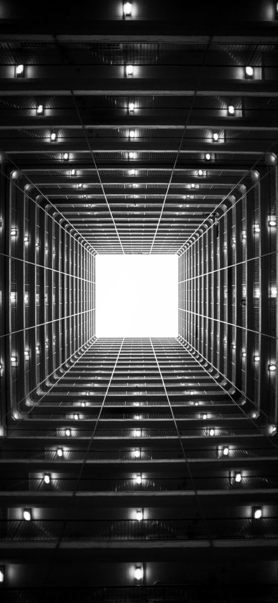 建筑 黑白 燈飾 正方形