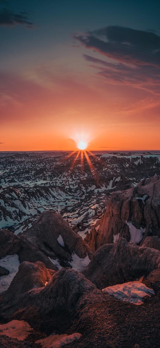 夕阳 天空 昏暗 地平线