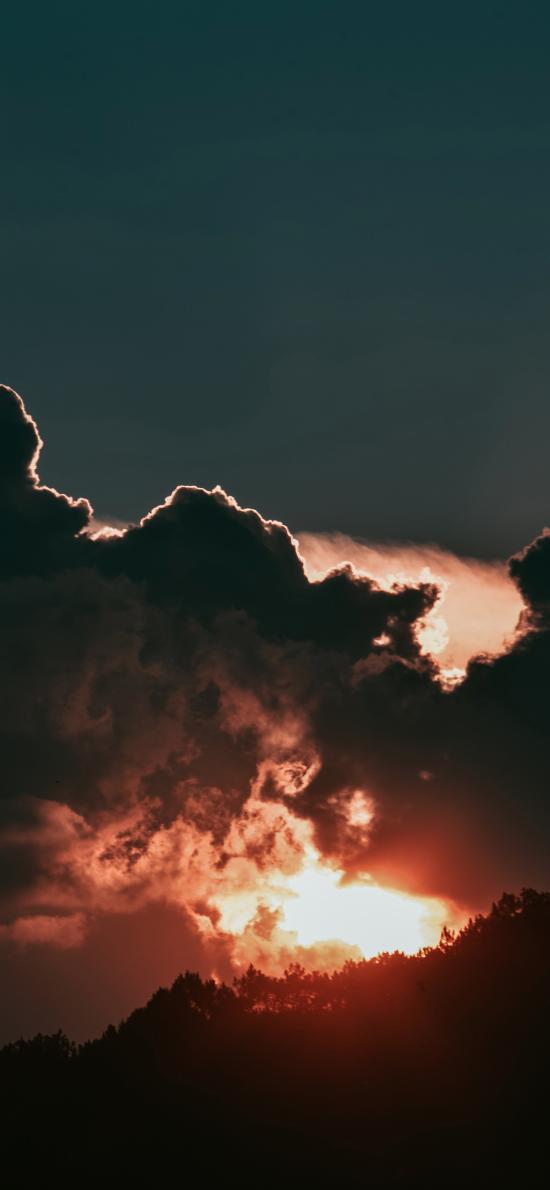 夕阳 阳光 云层