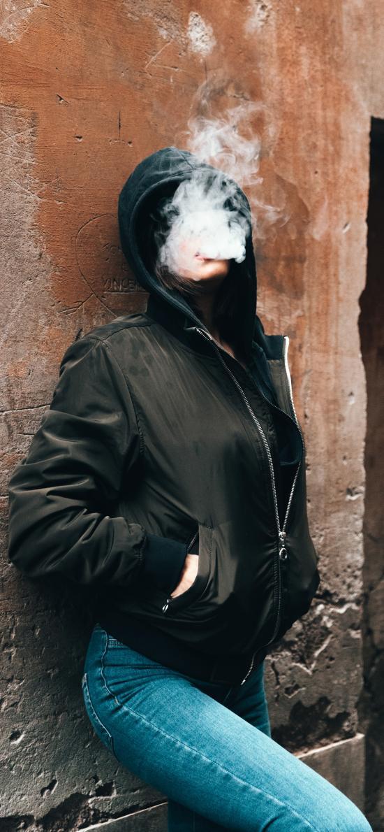 欧美美女 写真 抽烟 烟雾 个性