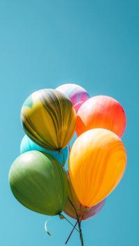 气球 色彩 蓝天 一束