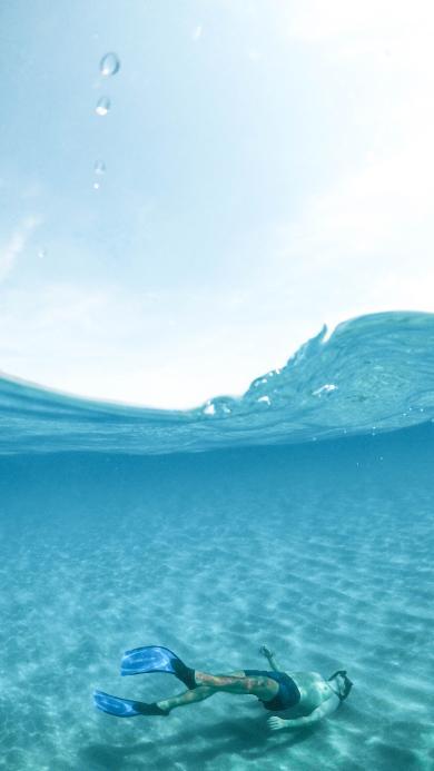 潜水 蓝色 海洋 男子 海水 运动