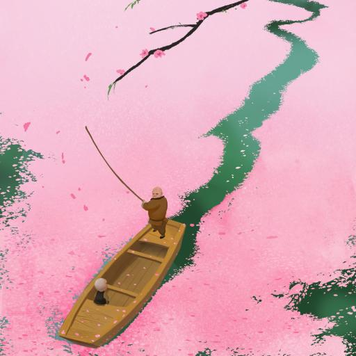 插图 船只 和尚 花瓣 粉色 唯美