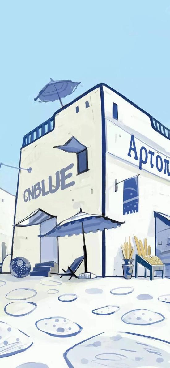 插画 房子 蓝白 地中海风