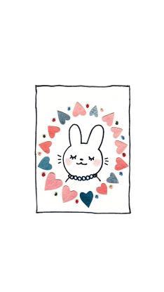 插画 可爱 兔子 绘画 白