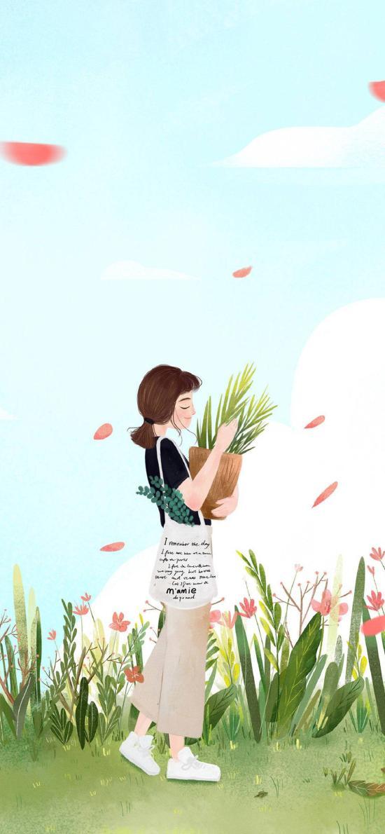 女孩 插画 文艺 清新