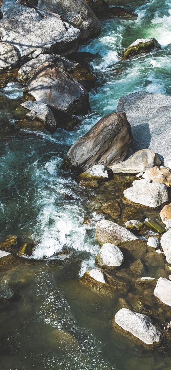 流水 石块 鹅卵石 小溪