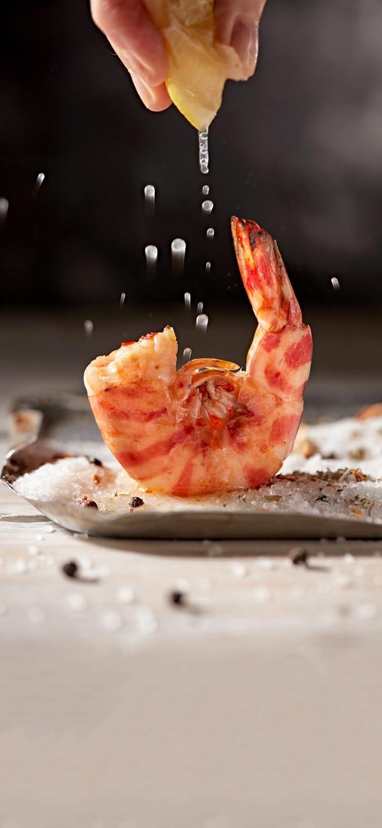 海鲜 烤虾 红虾 柠檬汁