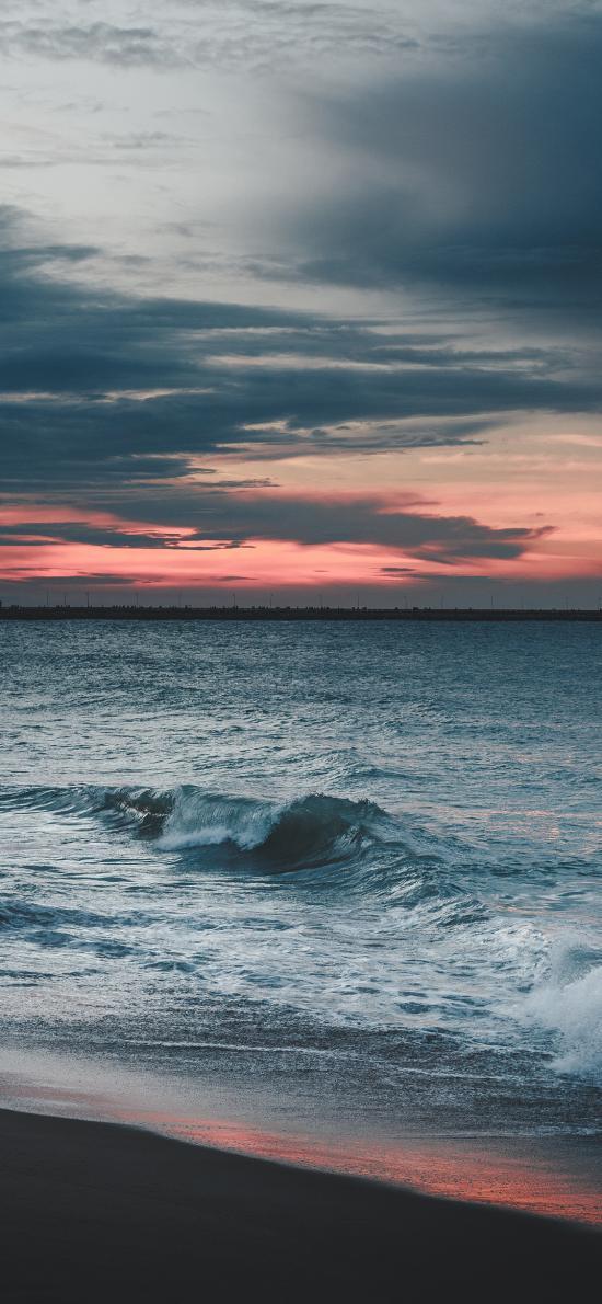 海岸 夕阳 海浪 云层