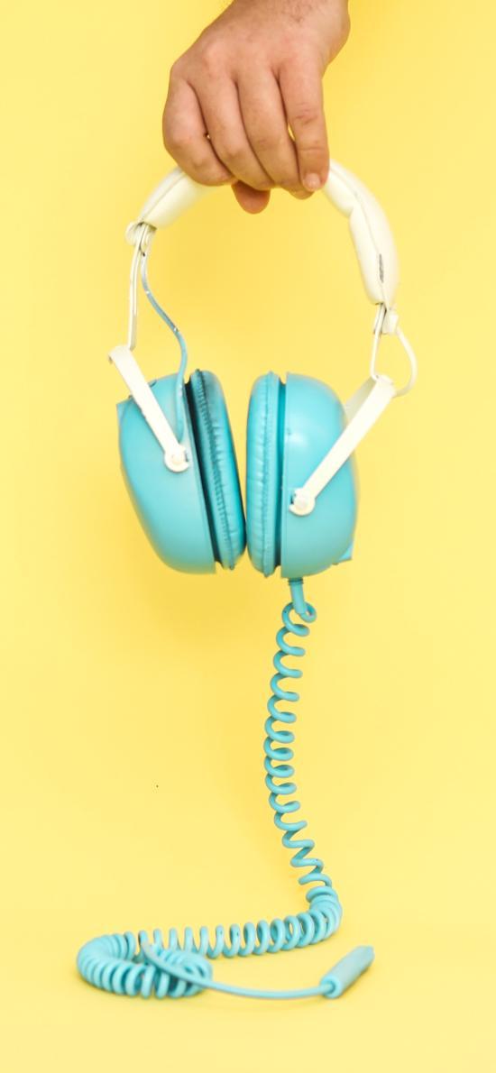 耳机 耳罩式 有线 手部 黄