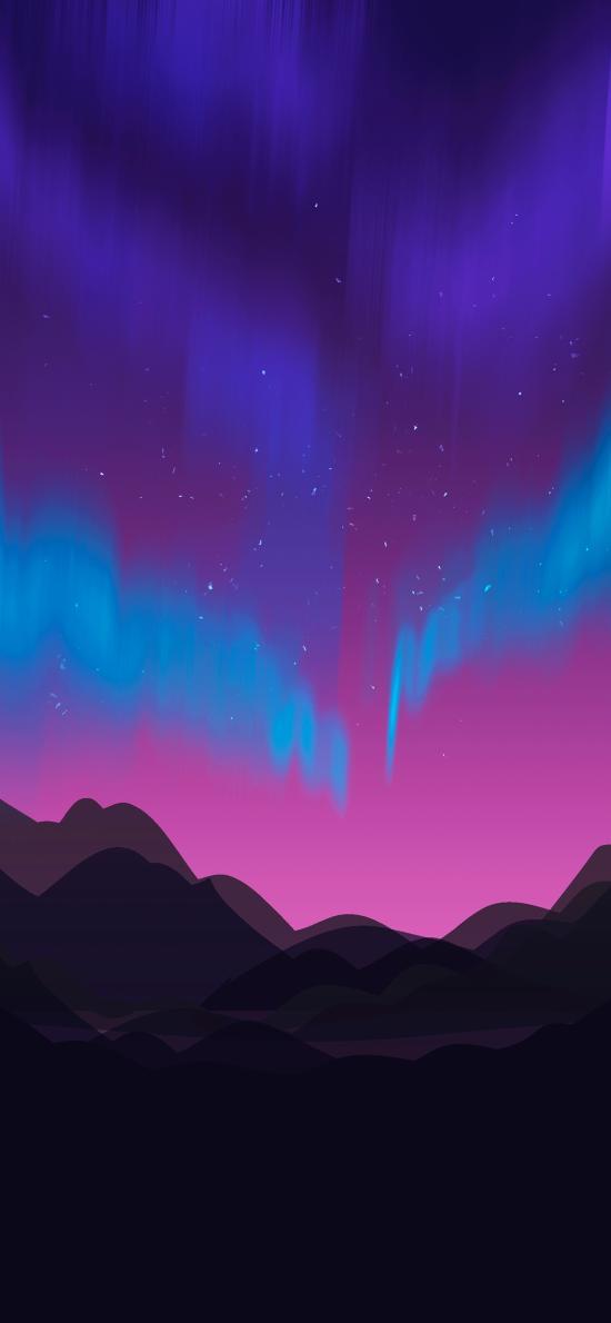 極光 平面 山川 星空 夢幻