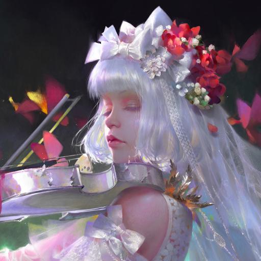 CG插画 女孩 小提琴 色彩 艺术