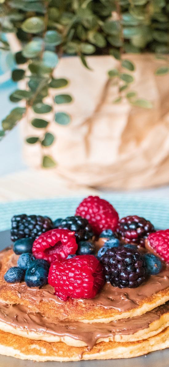 甜品 水果 蔓越莓 蓝莓 树莓 松饼 巧克力酱