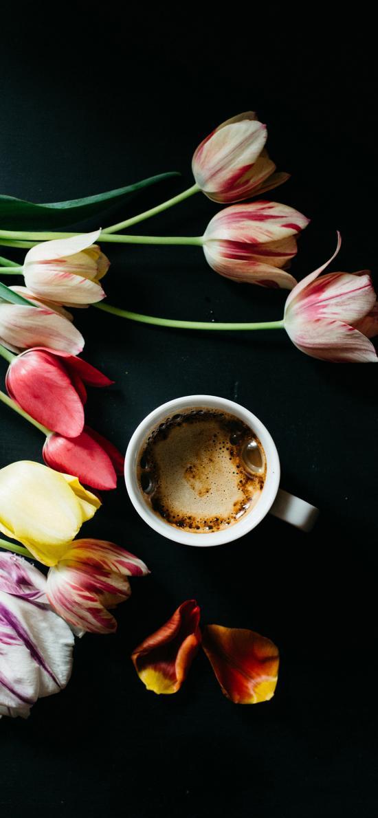 咖啡 泡沫 郁金香 鲜花
