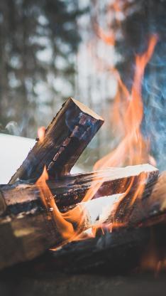 柴火 木柴 燃烧 烟火