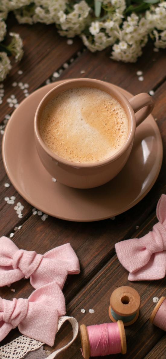 饮品 咖啡 提神 粉色蝴蝶结