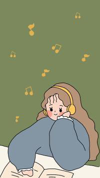 插画 女孩 听歌 乐符