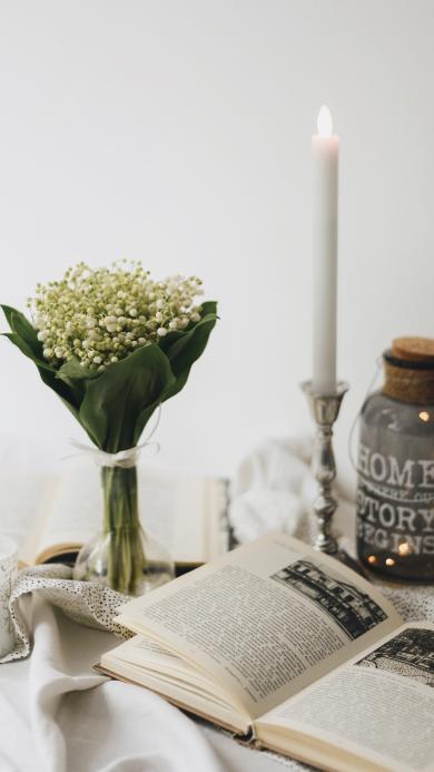 静物 鲜花 花束 书籍 烛台