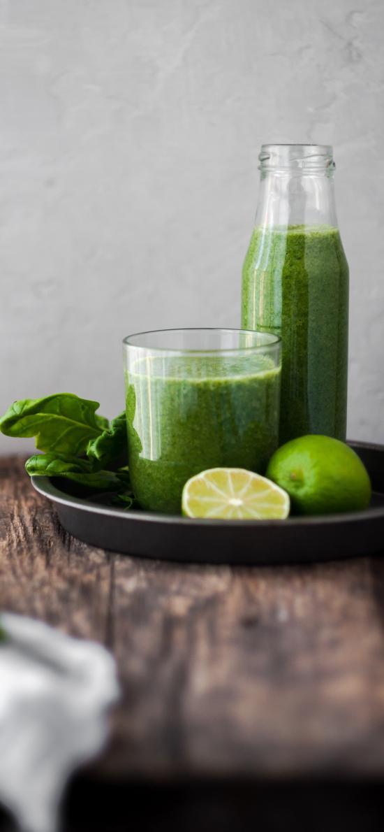 果汁 柠檬 玻璃瓶 桌