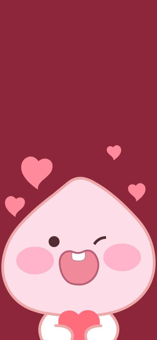 爱心 桃子 可爱 卡通 红色