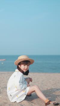 女孩 沙滩 哈琳 帽子