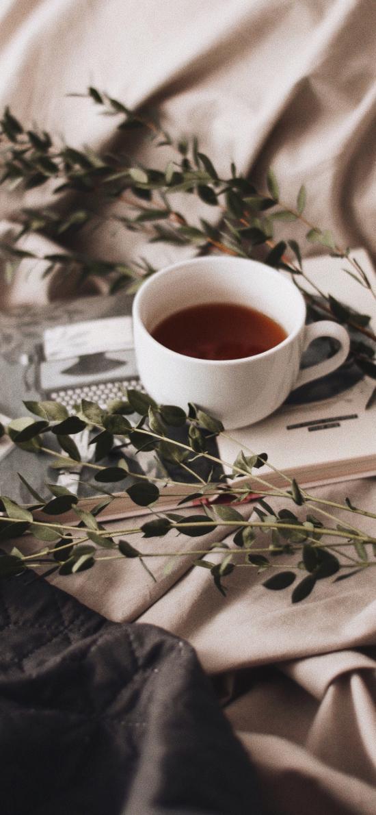 咖啡 树枝 书籍  静物