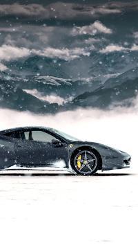 法拉利 超级跑车 炫酷 雪地 寒冷