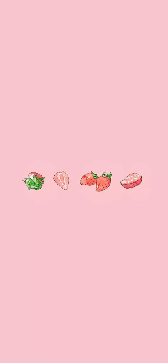 草莓 水果 手绘 粉色