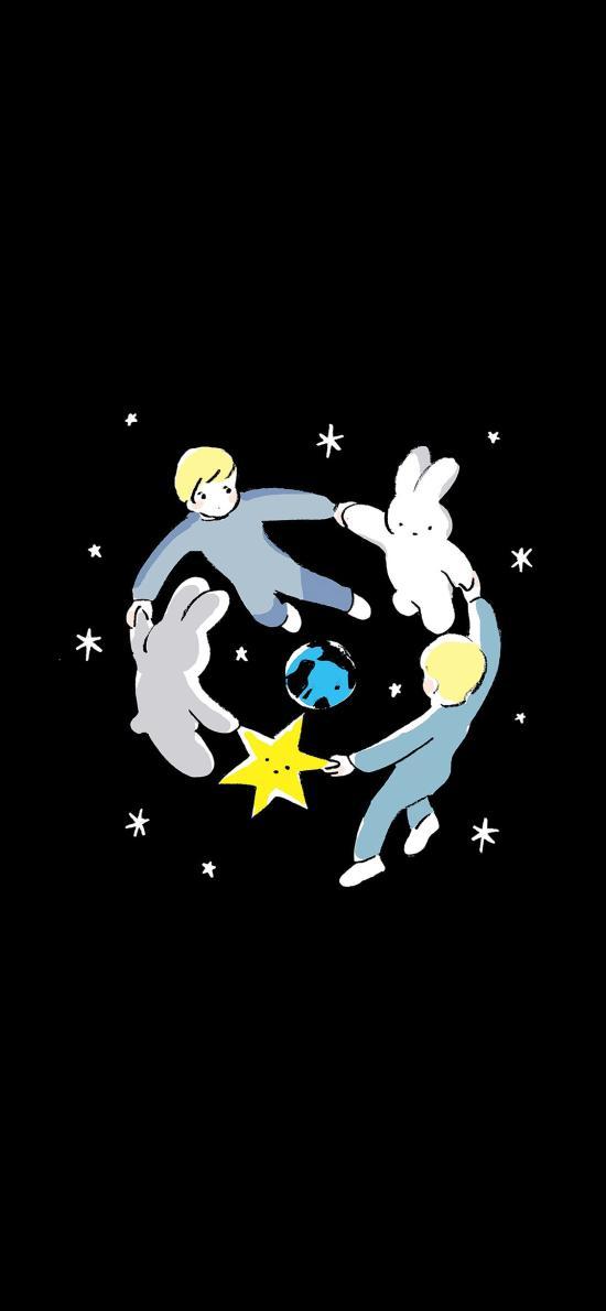 轉圈圈 兔子 男孩 星星 黑色