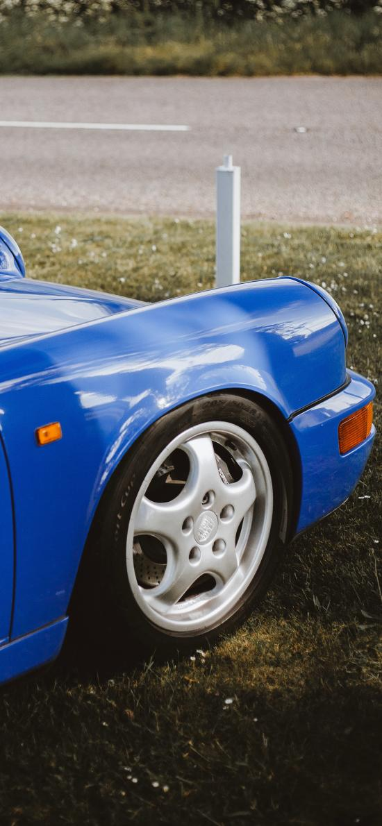 草地 停放 汽车 蓝色
