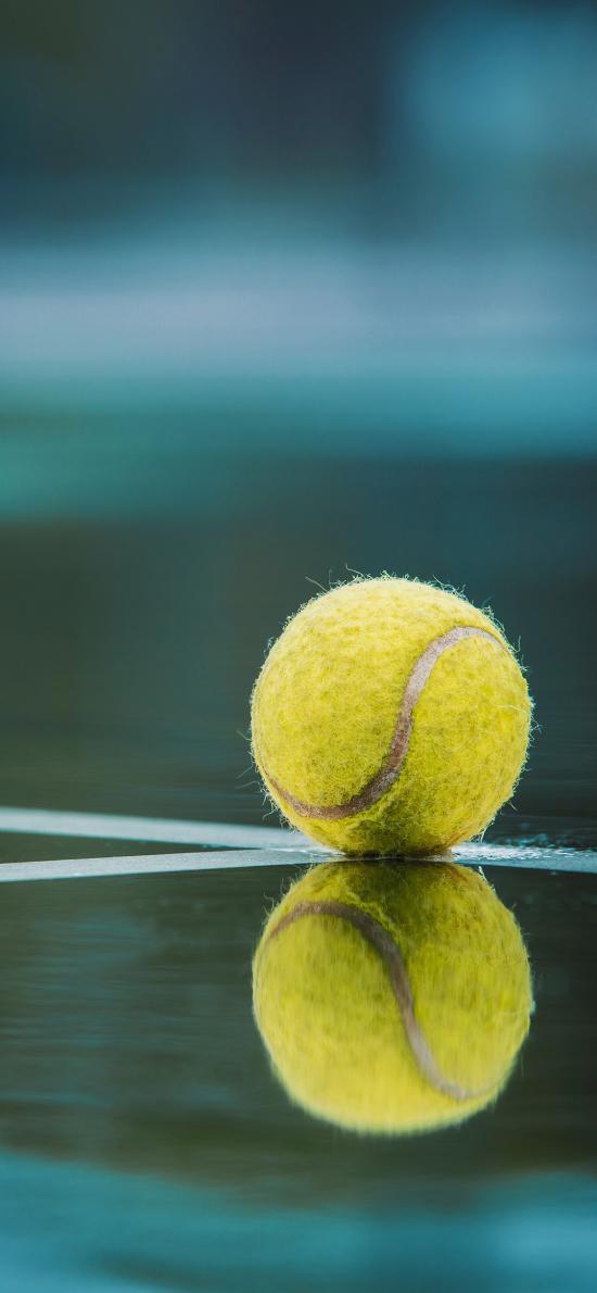 网球 运动 镜面 倒映