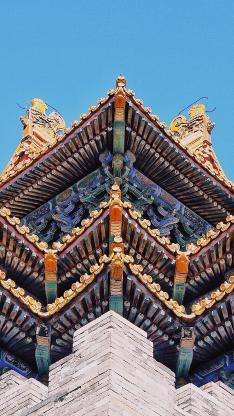 建筑 古风 屋檐 砖墙