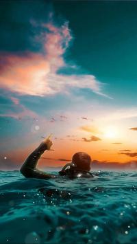潜水 极限 运动 大海 背影 海水