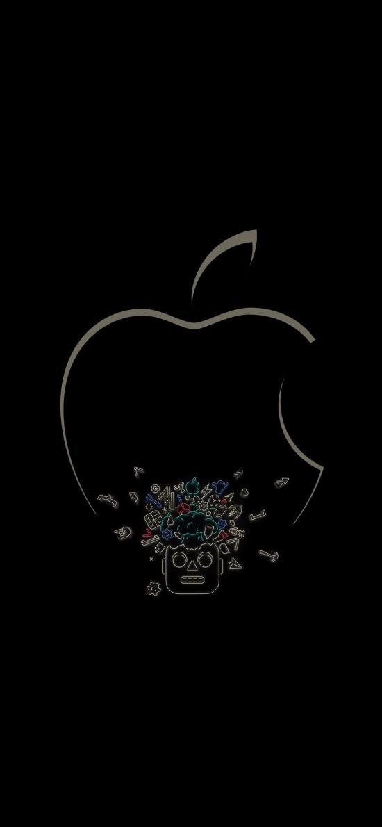 苹果 logo 品牌 标志 黑色