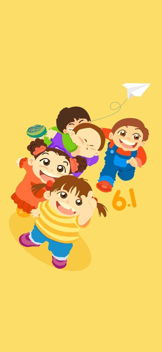 六一 儿童节 孩子 欢乐 插画 黄色