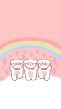 粉色背景 卡通 萌物 彩虹