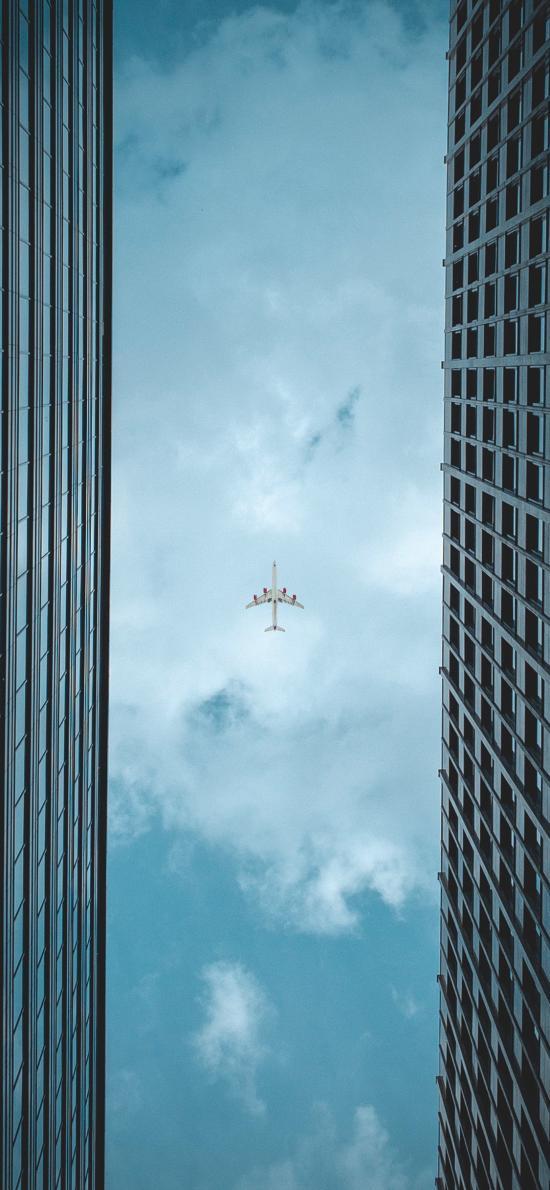 飞机 建筑 蓝色 天空 飞行 航空