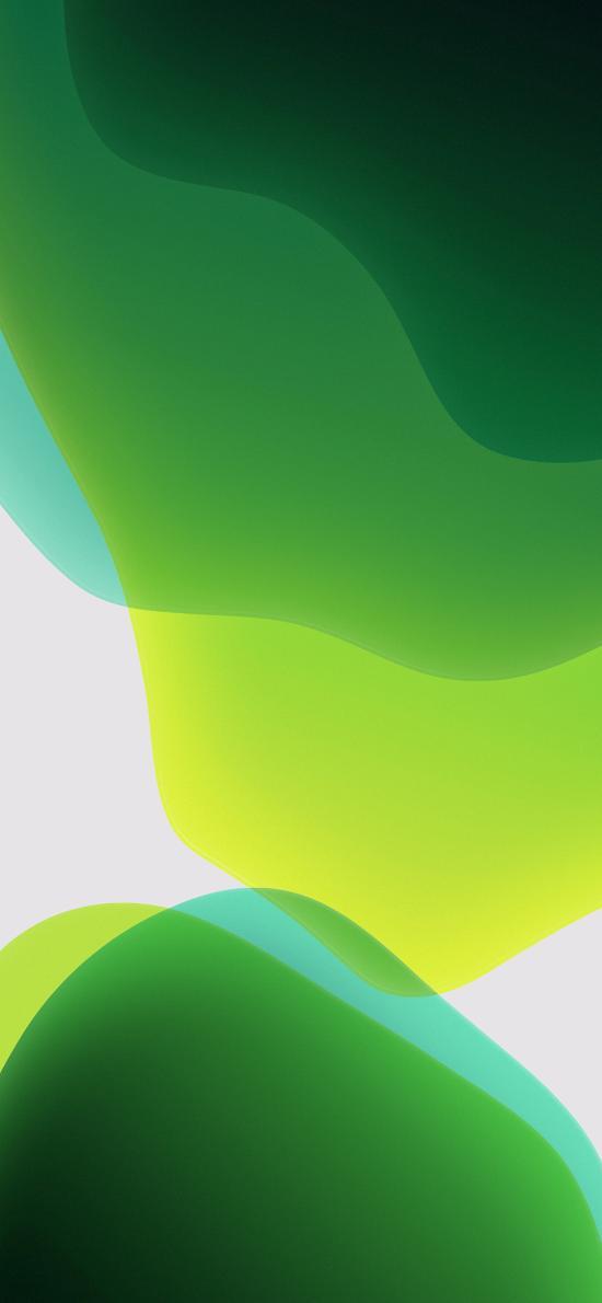 iOS13内置壁纸 流动 曲线 线条 绿色