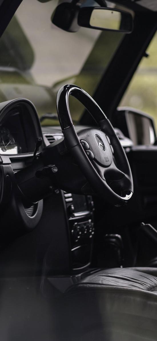 方向盘 奔驰 驾驶位 黑色 汽车