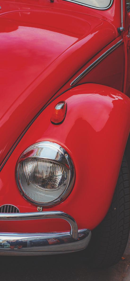 汽车 红色 车灯 复古车型