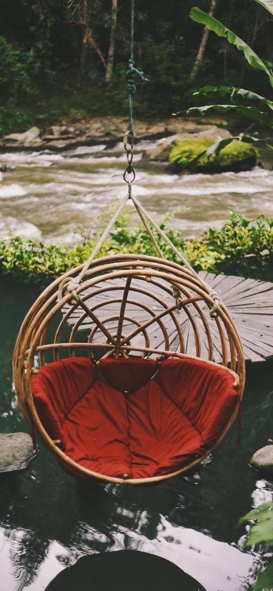 吊椅 庭院 水面 椅子