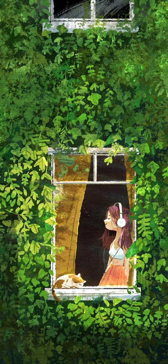 女孩 插画 听歌 猫咪 绿叶 色彩