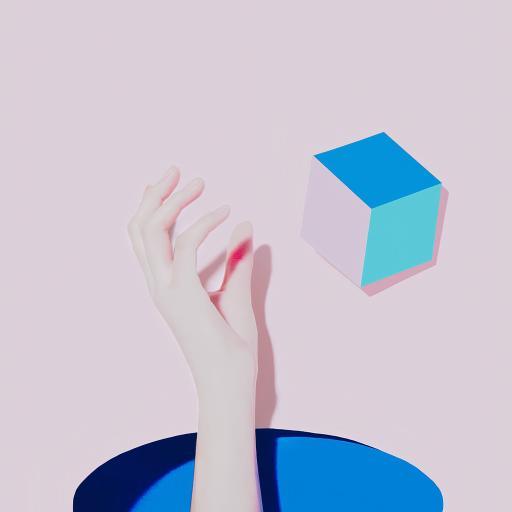 手 空间 立方体 立体 几何 粉色