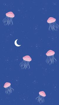 绘画 水母 浮游 星空 月亮