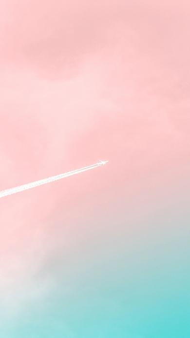 天空 唯美 飞机 喷雾