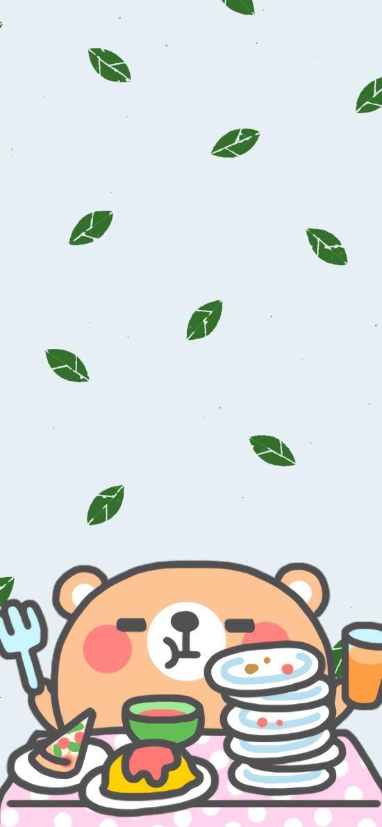 卡通 萌物 吃饭 叶子