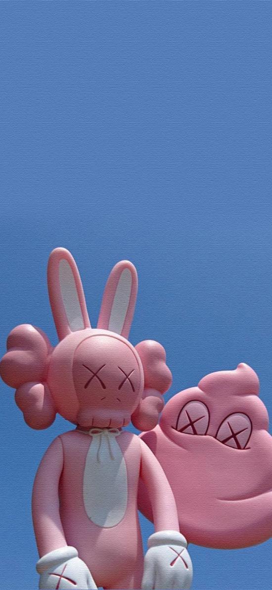 潮牌 日本 Kaws 玩偶 周边 粉色