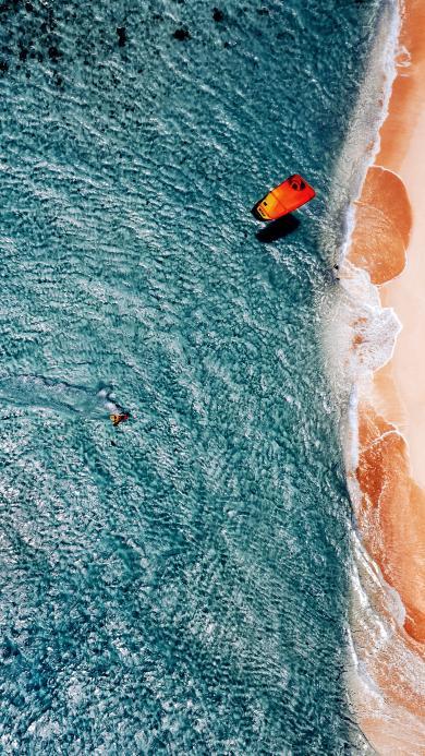航拍 大海 冲浪 海水