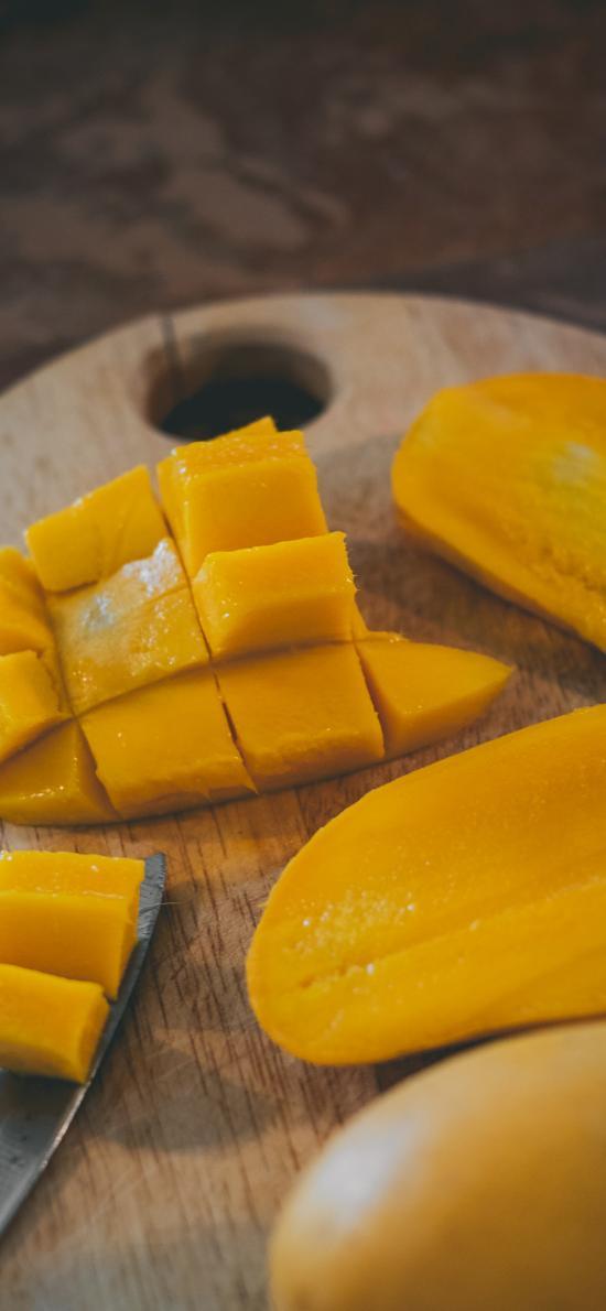 芒果 水果 切塊 金黃
