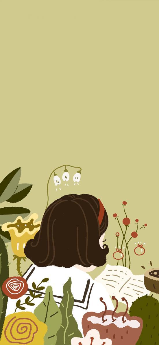插画 绘画 女孩 背影 短发
